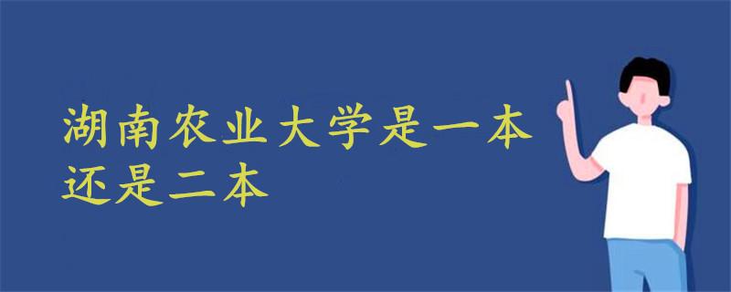 湖南农业大学是一本还是二本